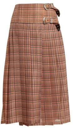 Toga Pleated Checked Mesh Skirt - Womens - Red Multi