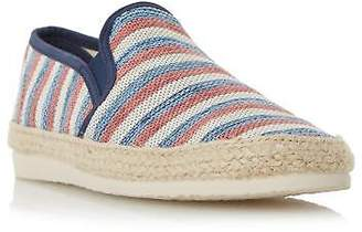 Dune Mens FUNFAIR Striped Canvas Espadrille Shoe in Red