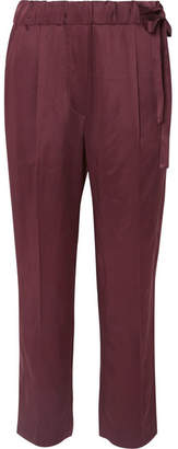 Brunello Cucinelli Cropped Satin Straight-leg Pants - Plum