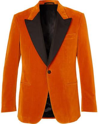 Kingsman Eggsy's Orange Faille-Trimmed Cotton-Velvet Tuxedo Jacket