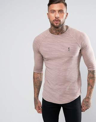 Religion 3/4 sleeve raglan t-shirt in ash pink with texture