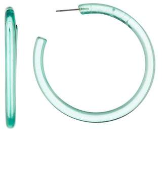 Ettika Green Lucite Simple Hoop Earrings