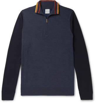 Paul Smith Stripe-trimmed Colour-block Merino Wool Half-zip Sweater - Navy
