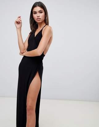 Club L London cami maxi dress with high thigh split in black