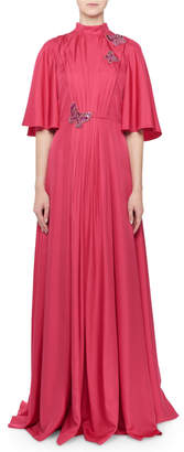 Andrew Gn Flutter-Sleeve Butterfly-Trim Gown