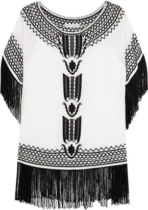 Alice + Olivia - Natalie Fringed Embroidered Silk-georgette Top - White $385 thestylecure.com