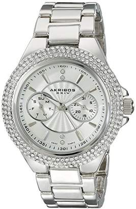 Akribos XXIV Women's AK789SS Multifunction Swiss Quartz Movement Watch with Silver Dial and Bracelet