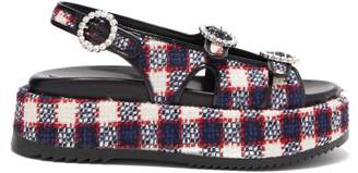 Gucci Checked Tweed Platform Leather Sandals - Womens - Navy White