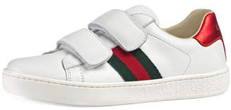 ea98c94b7 Gucci New Ace Web-Trim Leather Sneaker, Toddler/Kids
