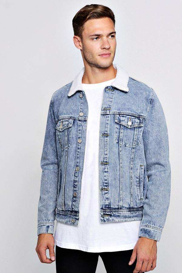 Borg Collar Washed Denim Western Jacket