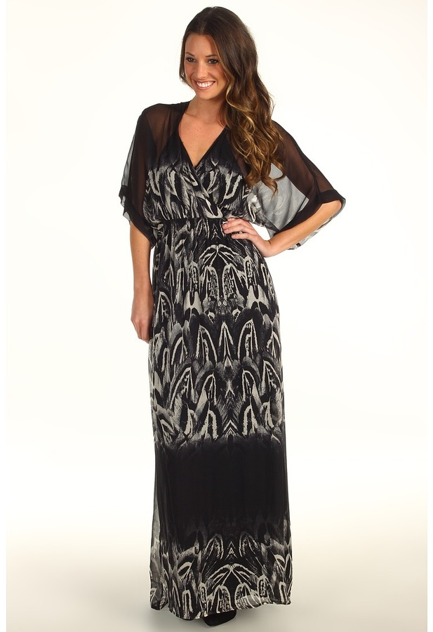 Twelfth St. By Cynthia Vincent by Cynthia Vincent - Tie Back Kimono Sleeve Maxi (Feather Ombre Black) - Apparel