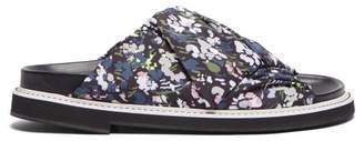 Ganni Floral Print Crossover Slides - Womens - Black Multi