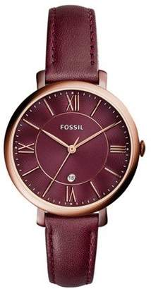 Fossil Women's ES4099 Jacqueline Three-Hand Date Wine Leather Watch