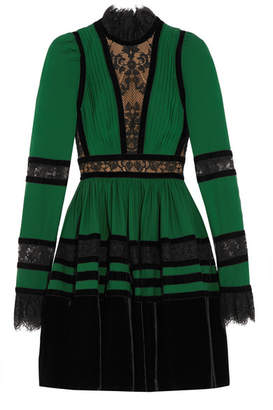 Elie Saab - Lace And Velvet-paneled Pleated Crepe Mini Dress - Forest green $5,400 thestylecure.com