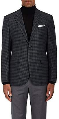 Barneys New York MEN'S CHECKED WOOL-SILK TWO-BUTTON SPORTCOAT - OLIVE SIZE 42 L