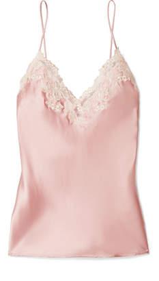 La Perla Maison Lace-trimmed Silk-blend Satin Camisole - Pastel pink