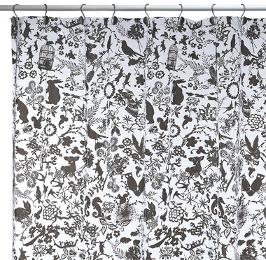 Black Florafauna Vinyl Shower Curtain