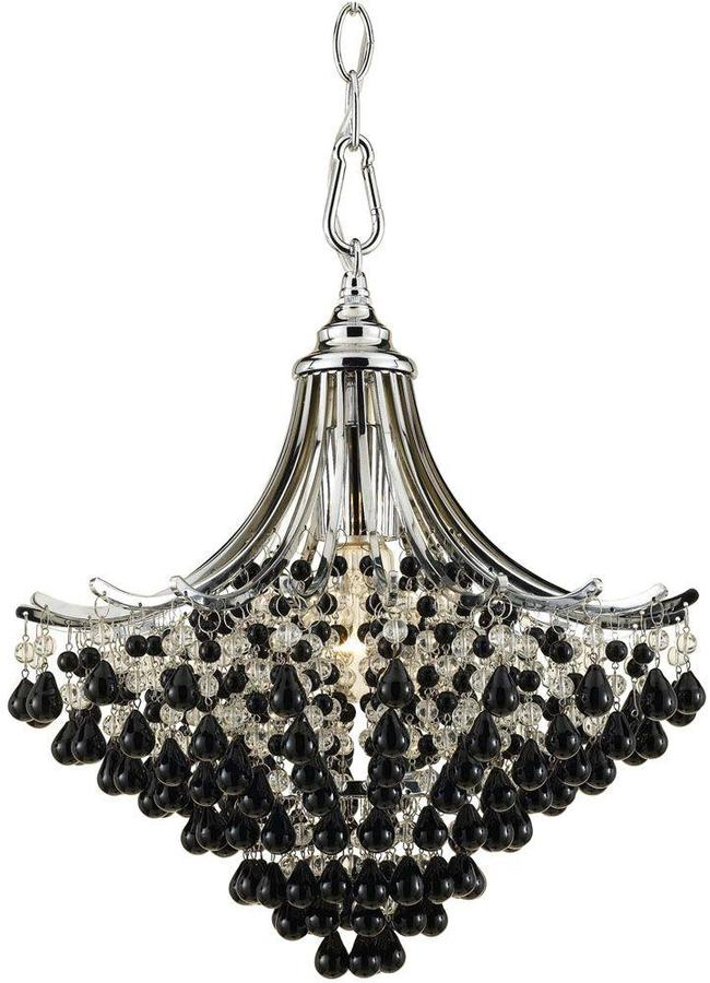 AF LightingAF Lighting Spellbound 1-Light Chrome Pendant with Clear and Black Glass Bead Accents