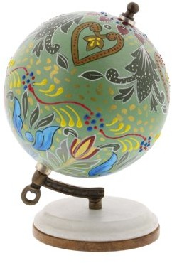 DecMode Decmode Modern 7 Inch Resin And Wood Decorative Lattice Globe, Multicolor