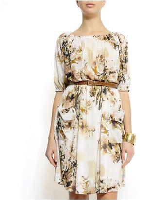 MNG by Mango Bold Elements Floral Scoopneck Dress w/Pockets