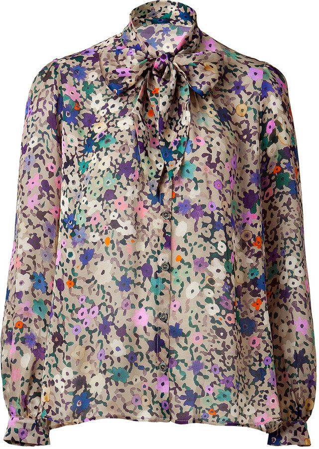 Paul & Joe Beige Multi Color Printed Silk Blouse