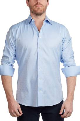 Levinas Polka Dot Contemporary Fit Dress Shirt