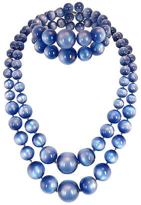 One Kings Lane Vintage 1950s Blue Moonglow Lucite Necklace Set
