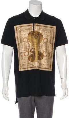 Givenchy 2016 Longline Cobra Print Polo Shirt
