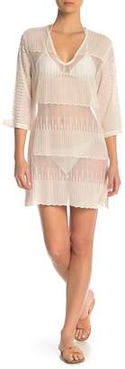 J Valdi Embroidered Mesh 3\u002F4 Sleeve Tunic Cover-Up