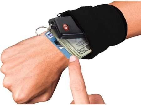 Muzza Inc Unisex Sweatband Wristband with Zipper Wallet For Gym, Outdoor Sport & Cycling 2 Pack