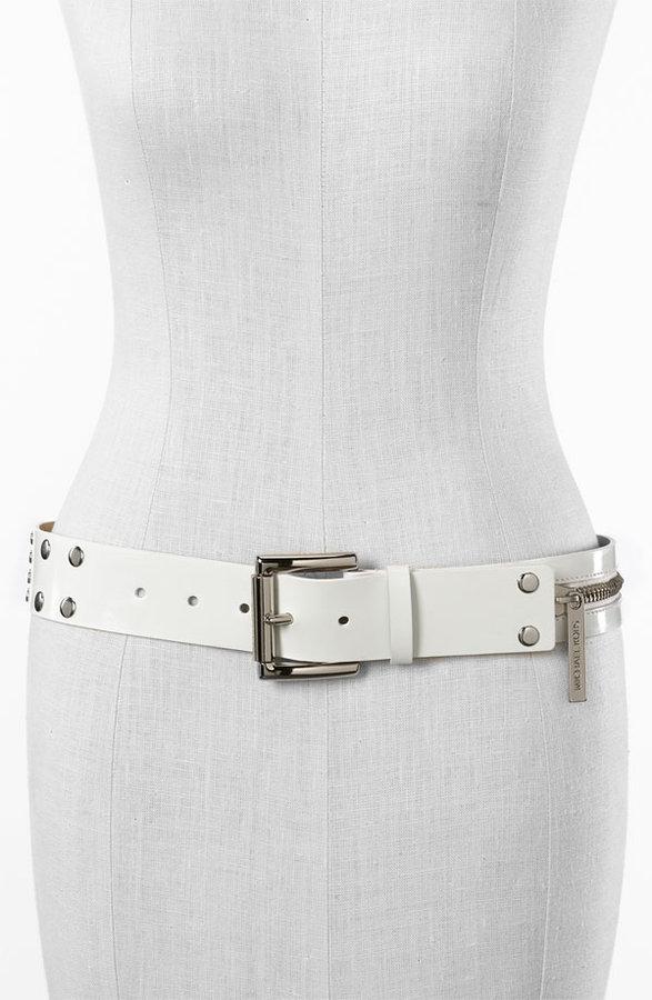 MICHAEL Michael Kors Zip Detail Patent Belt
