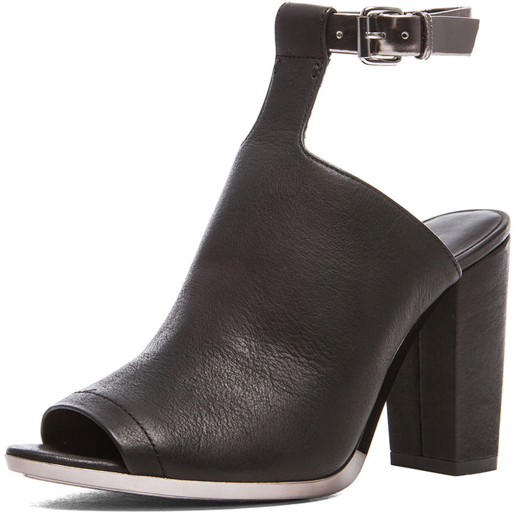 3.1 Phillip Lim Vincent Leather Ankle Strap Mules in Black & Gunmetal