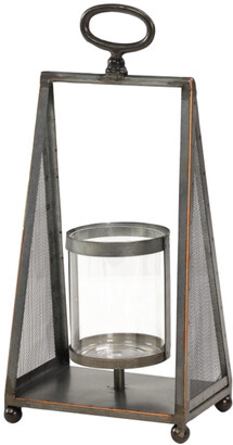 Uma Enterprises Tall Silver Metal & Glass Hanging Candle Holder