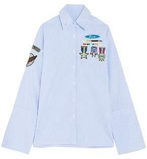 Mira Mikati Appliquéd Striped Cotton-Poplin Shirt