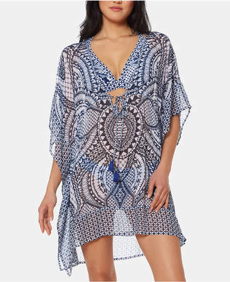 Jessica Simpson Printed Chiffon Border Cover-Up Dress Women Swimsuit