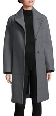 DKNY Snap-Button Front Wool-Blend Overcoat $598 thestylecure.com