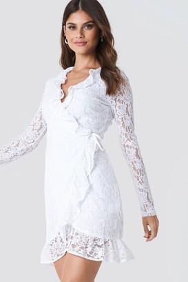 Na Kd Boho Wrap Front Lace Dress White