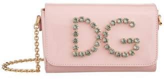 Dolce & Gabbana Patent Logo Embellished Shoulder Bag