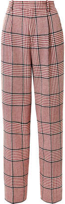 Gucci Prince Of Wales Checked Wool-blend Wide-leg Pants - Red
