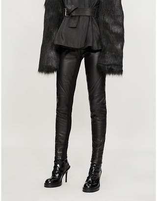 Gareth Pugh High-rise leather and stretch-jersey leggings