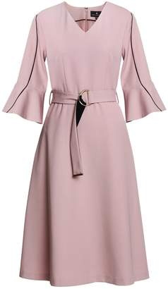 Emily Lovelock Dress With Contrast Trim Pink