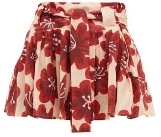 Dodo Bar Or Milli Floral Print Cotton Poplin Mini Skirt - Womens - Cream Print