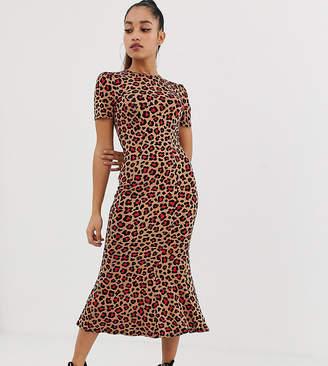 Asos DESIGN Petite city maxi tea dress in animal print
