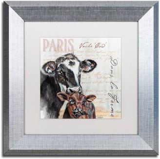 """Trademark Fine Art Dans """"la Ferme"""" Cow Silver Finish Framed Wall Art"""