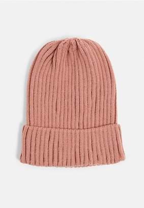 Missguided Rose Dark Grey Ribbed Beanie Hat
