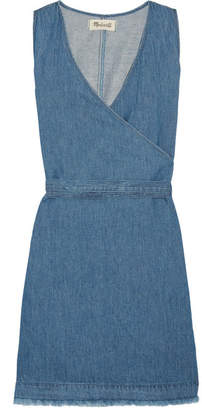 Madewell - Frayed Cotton And Linen-blend Wrap Mini Dress - Blue $120 thestylecure.com