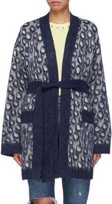 Current/Elliott 'The Rick' belted leopard jacquard kimono cardigan