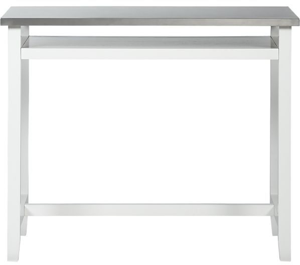 Crate & Barrel Belmont White Work Table with Stainless Steel Top.