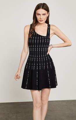 BCBGMAXAZRIA Sleeveless Dot-Striped Knit Dress