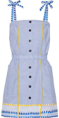 Lemlem Mwali Gauze-trimmed Striped Cotton-blend Mini Dress - Blue